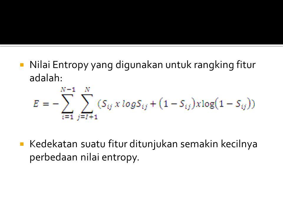  Nilai Entropy yang digunakan untuk rangking fitur adalah:  Kedekatan suatu fitur ditunjukan semakin kecilnya perbedaan nilai entropy.