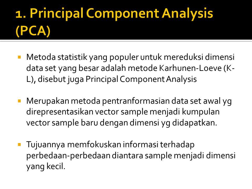  Metoda statistik yang populer untuk mereduksi dimensi data set yang besar adalah metode Karhunen-Loeve (K- L), disebut juga Principal Component Anal