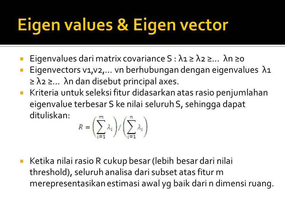  Eigenvalues dari matrix covariance S : λ1 ≥ λ2 ≥… λn ≥0  Eigenvectors v1,v2,… vn berhubungan dengan eigenvalues λ1 ≥ λ2 ≥… λn dan disebut principal