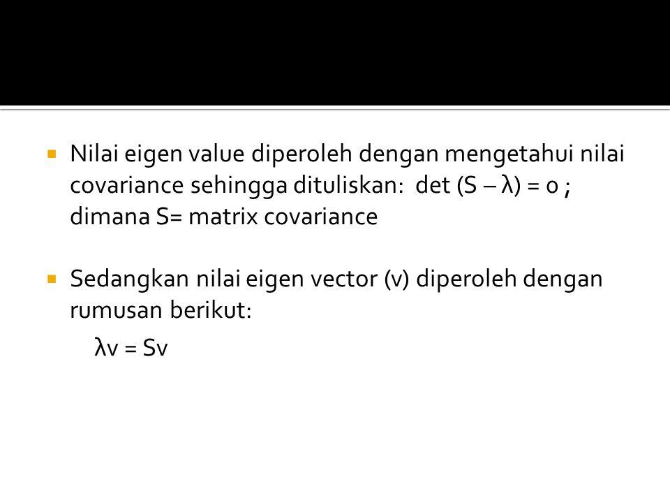  Nilai eigen value diperoleh dengan mengetahui nilai covariance sehingga dituliskan: det (S – λ) = 0 ; dimana S= matrix covariance  Sedangkan nilai