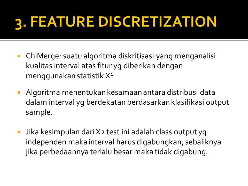  ChiMerge: suatu algoritma diskritisasi yang menganalisi kualitas interval atas fitur yg diberikan dengan menggunakan statistik X 2.  Algoritma mene