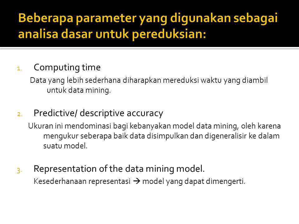 1. Computing time Data yang lebih sederhana diharapkan mereduksi waktu yang diambil untuk data mining. 2. Predictive/ descriptive accuracy Ukuran ini