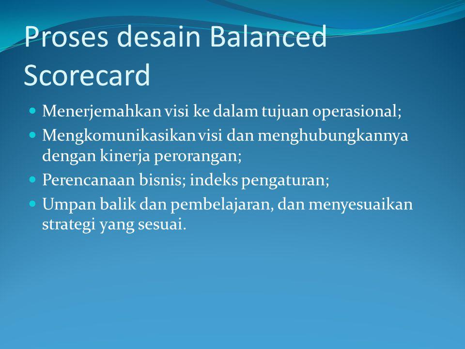 Proses desain Balanced Scorecard Menerjemahkan visi ke dalam tujuan operasional; Mengkomunikasikan visi dan menghubungkannya dengan kinerja perorangan; Perencanaan bisnis; indeks pengaturan; Umpan balik dan pembelajaran, dan menyesuaikan strategi yang sesuai.
