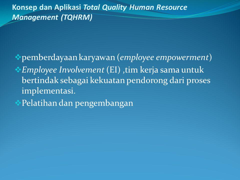 Konsep dan Aplikasi Total Quality Human Resource Management (TQHRM)  pemberdayaan karyawan (employee empowerment)  Employee Involvement (EI),tim kerja sama untuk bertindak sebagai kekuatan pendorong dari proses implementasi.