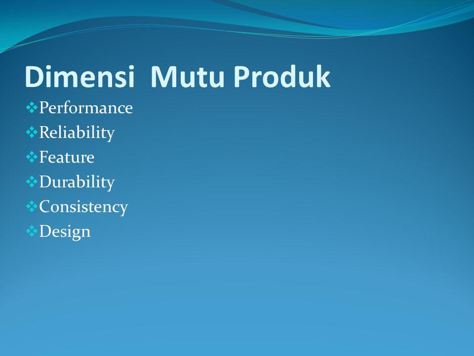 Dimensi Mutu  Reliability  Responsiveness  Assurance  Emphaty