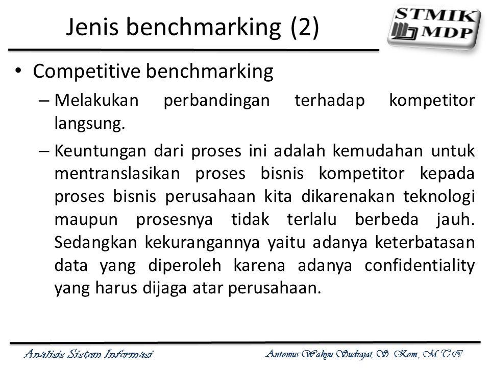 Analisis Sistem Informasi Antonius Wahyu Sudrajat, S. Kom., M.T.I Jenis benchmarking (2) Competitive benchmarking – Melakukan perbandingan terhadap ko