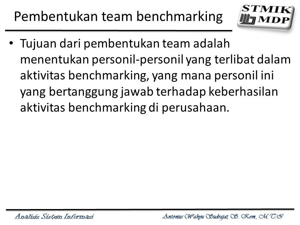 Analisis Sistem Informasi Antonius Wahyu Sudrajat, S. Kom., M.T.I Pembentukan team benchmarking Tujuan dari pembentukan team adalah menentukan personi