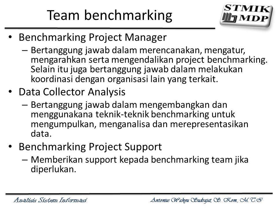 Analisis Sistem Informasi Antonius Wahyu Sudrajat, S. Kom., M.T.I Team benchmarking Benchmarking Project Manager – Bertanggung jawab dalam merencanaka