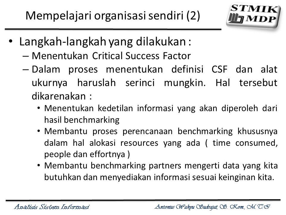 Analisis Sistem Informasi Antonius Wahyu Sudrajat, S. Kom., M.T.I Mempelajari organisasi sendiri (2) Langkah-langkah yang dilakukan : – Menentukan Cri