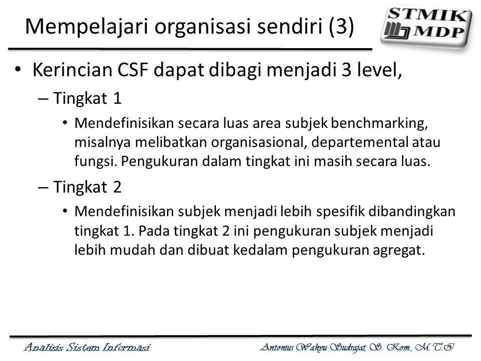 Analisis Sistem Informasi Antonius Wahyu Sudrajat, S. Kom., M.T.I Mempelajari organisasi sendiri (3) Kerincian CSF dapat dibagi menjadi 3 level, – Tin