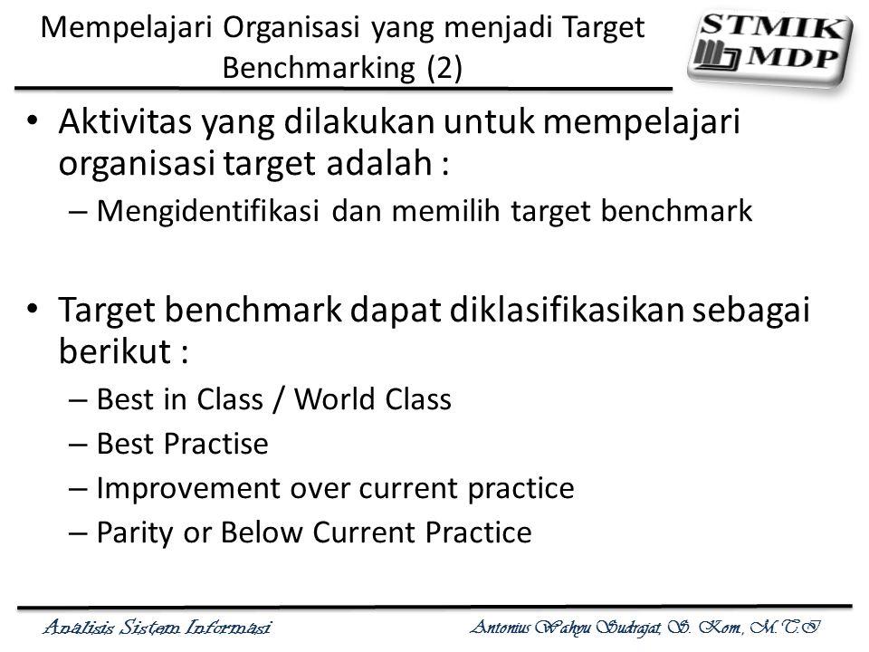 Analisis Sistem Informasi Antonius Wahyu Sudrajat, S. Kom., M.T.I Mempelajari Organisasi yang menjadi Target Benchmarking (2) Aktivitas yang dilakukan