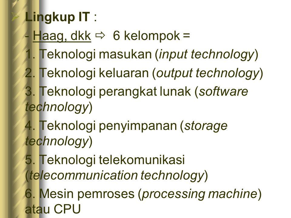  Lingkup IT : - Haag, dkk  6 kelompok = 1.Teknologi masukan (input technology) 2.