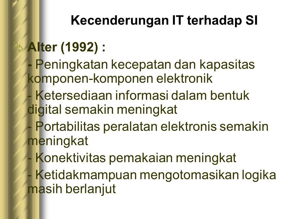 Kecenderungan IT terhadap SI  Alter (1992) : - Peningkatan kecepatan dan kapasitas komponen-komponen elektronik - Ketersediaan informasi dalam bentuk digital semakin meningkat - Portabilitas peralatan elektronis semakin meningkat - Konektivitas pemakaian meningkat - Ketidakmampuan mengotomasikan logika masih berlanjut
