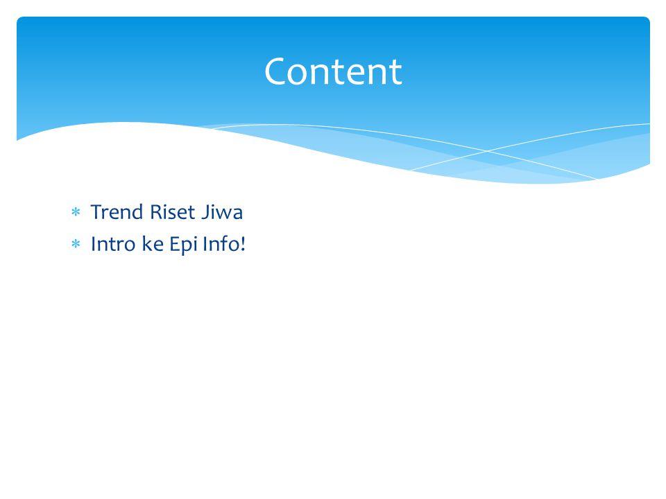  Trend Riset Jiwa  Intro ke Epi Info! Content
