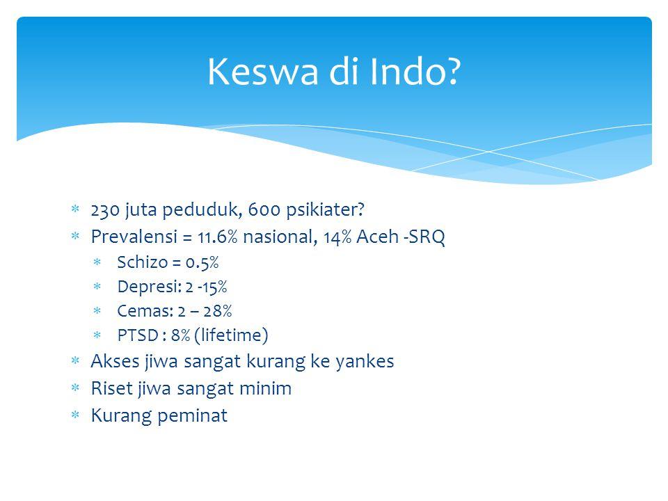  230 juta peduduk, 600 psikiater?  Prevalensi = 11.6% nasional, 14% Aceh -SRQ  Schizo = 0.5%  Depresi: 2 -15%  Cemas: 2 – 28%  PTSD : 8% (lifeti