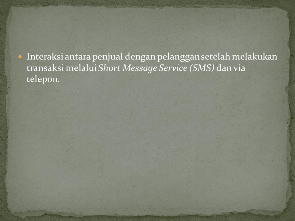 Interaksi antara penjual dengan pelanggan setelah melakukan transaksi melalui Short Message Service (SMS) dan via telepon.