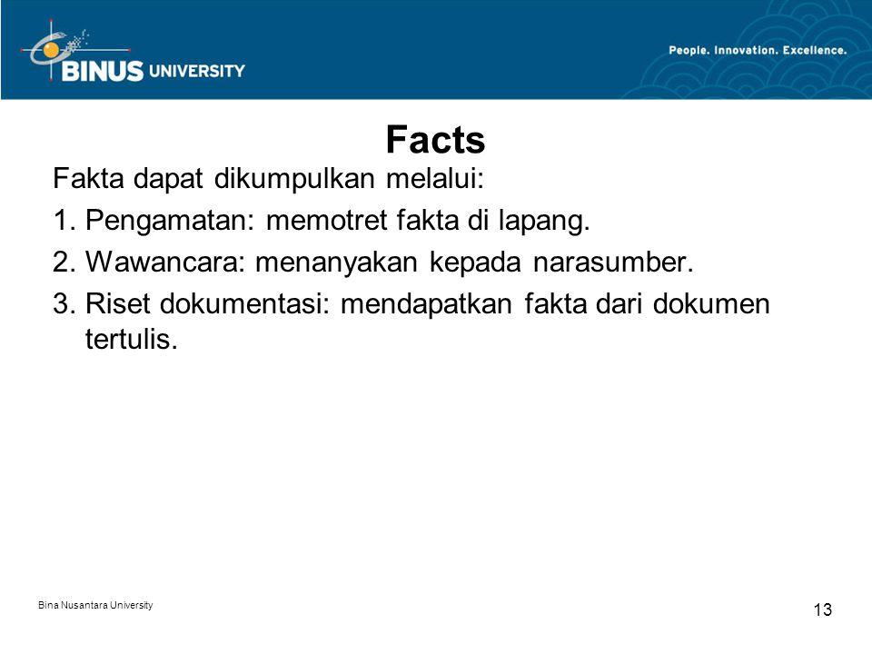 Facts Fakta dapat dikumpulkan melalui: 1.Pengamatan: memotret fakta di lapang.