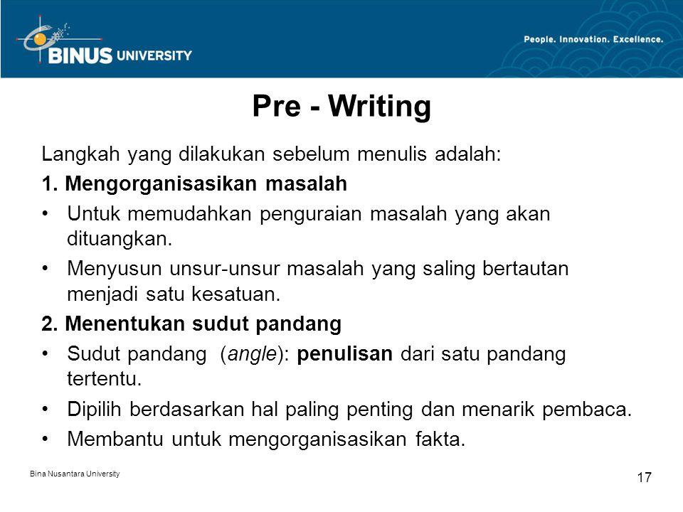 Pre - Writing Langkah yang dilakukan sebelum menulis adalah: 1.
