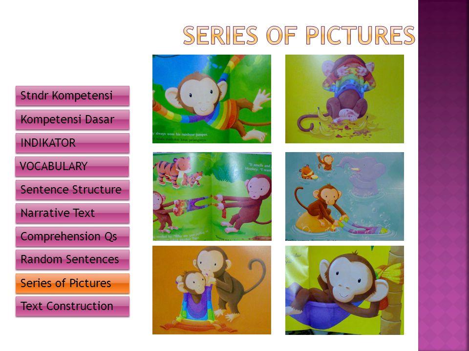 Stndr Kompetensi Kompetensi Dasar INDIKATOR VOCABULARY Sentence Structure Narrative Text Comprehension Qs Random Sentences Series of Pictures Text Construction