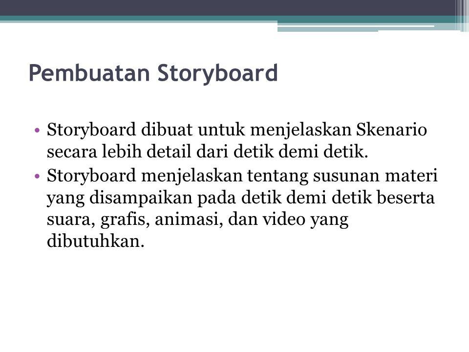 Pembuatan Storyboard Storyboard dibuat untuk menjelaskan Skenario secara lebih detail dari detik demi detik. Storyboard menjelaskan tentang susunan ma