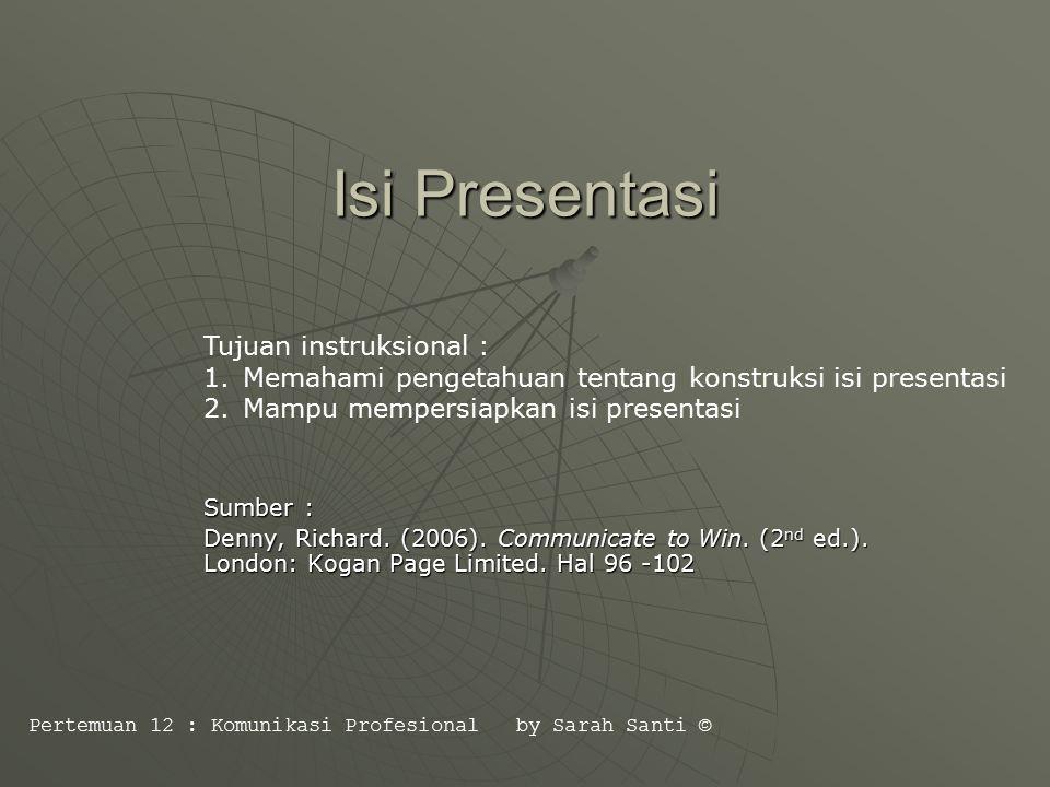 Konstruksi Presentasi : 1.Pembukaan 2. Isi Pesan 3.