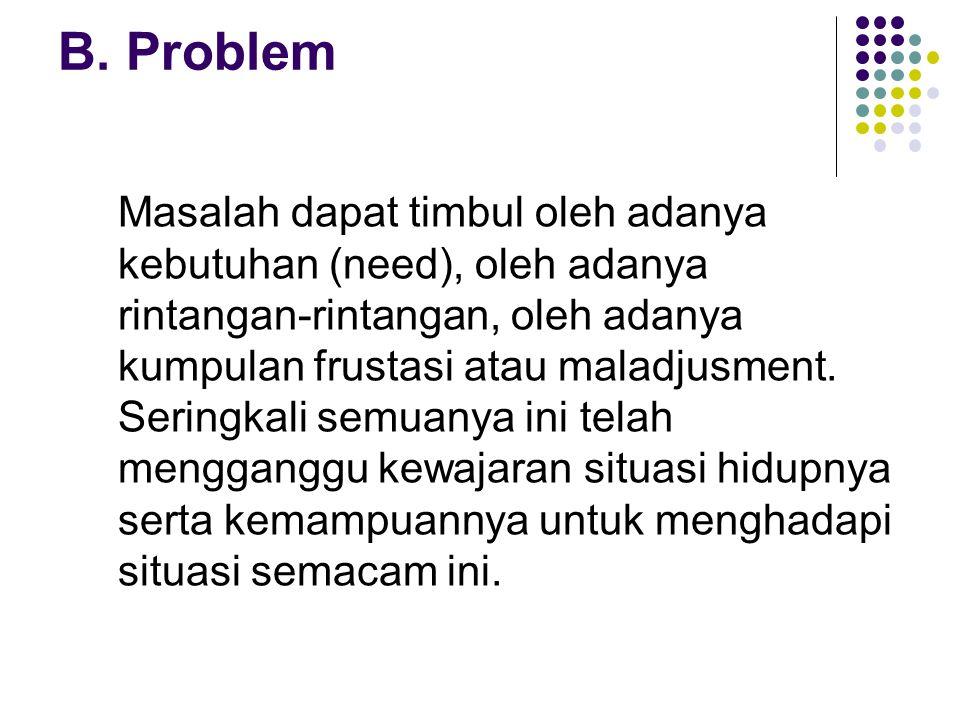 B. Problem Masalah dapat timbul oleh adanya kebutuhan (need), oleh adanya rintangan-rintangan, oleh adanya kumpulan frustasi atau maladjusment. Sering