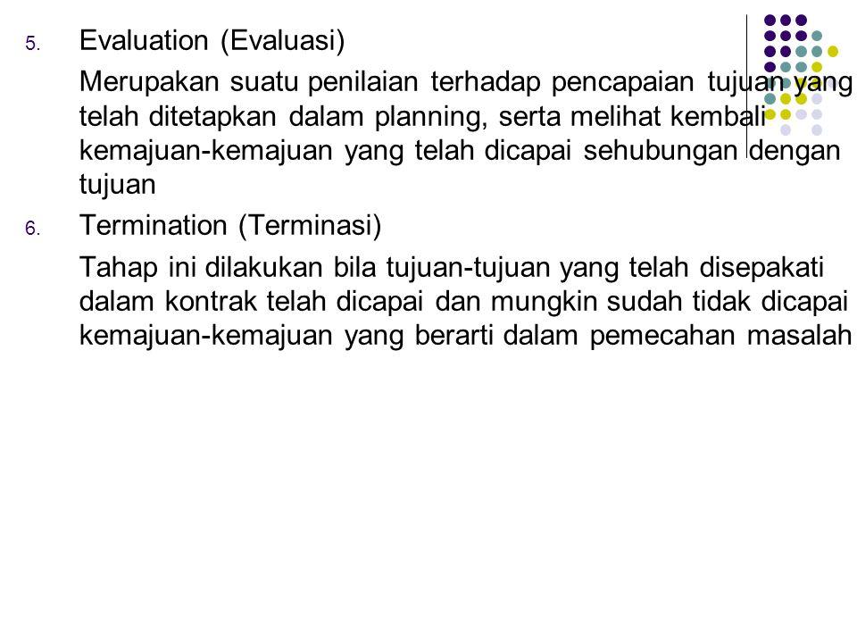 5. Evaluation (Evaluasi) Merupakan suatu penilaian terhadap pencapaian tujuan yang telah ditetapkan dalam planning, serta melihat kembali kemajuan-kem