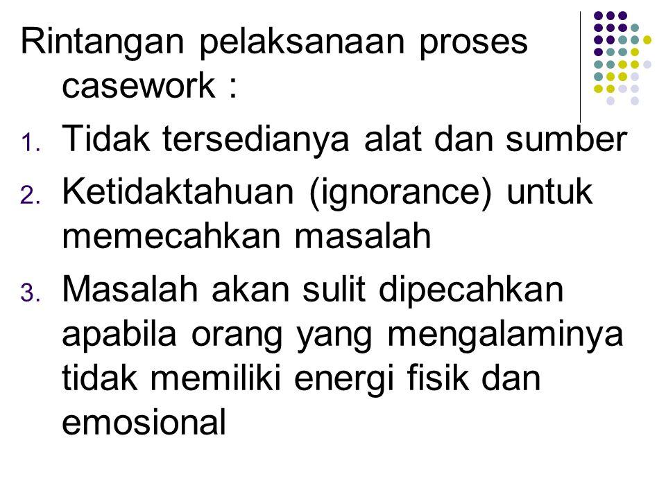 Rintangan pelaksanaan proses casework : 1. Tidak tersedianya alat dan sumber 2. Ketidaktahuan (ignorance) untuk memecahkan masalah 3. Masalah akan sul