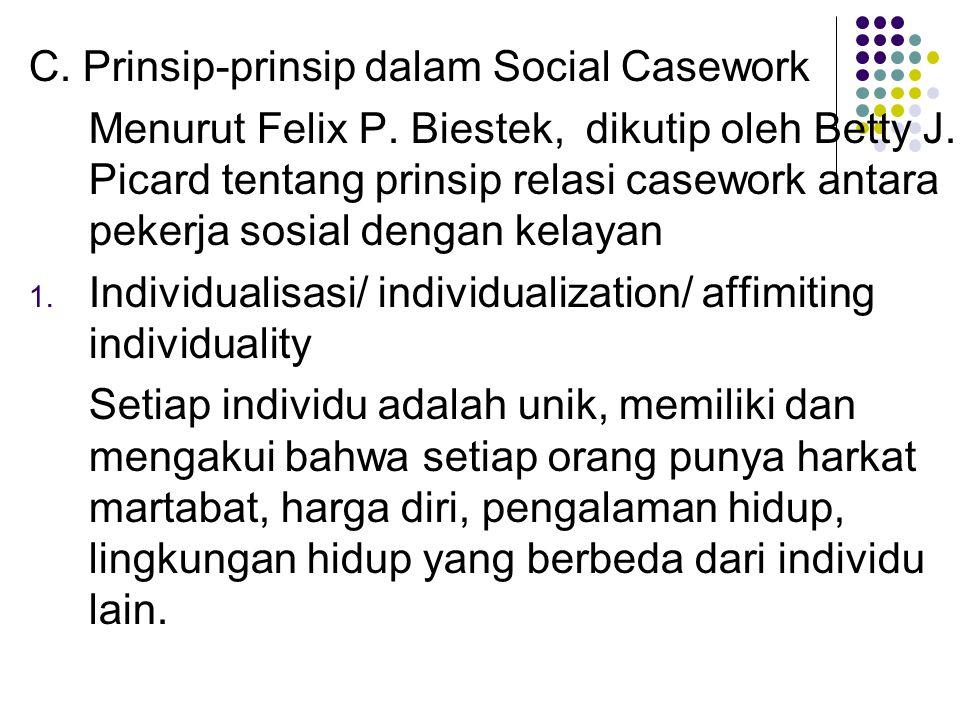 C. Prinsip-prinsip dalam Social Casework Menurut Felix P. Biestek, dikutip oleh Betty J. Picard tentang prinsip relasi casework antara pekerja sosial