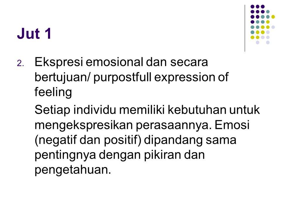Jut 1 2. Ekspresi emosional dan secara bertujuan/ purpostfull expression of feeling Setiap individu memiliki kebutuhan untuk mengekspresikan perasaann