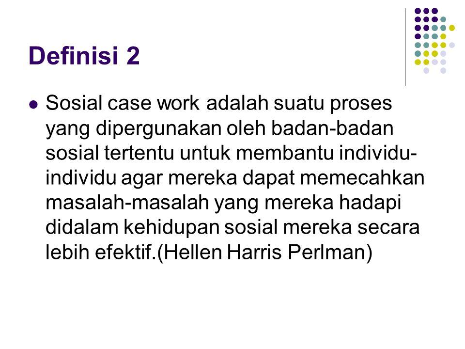Definisi 3 Proses case work mengandung makna : Seseorang yang mempunyai masalah datang ke suatu tempat (badan sosial) dimana terdapat tenaga ahli (pekerja sosial profesional) yang memberikan bantuan kepadanya dengan cara/proses tertentu (sosial casework)