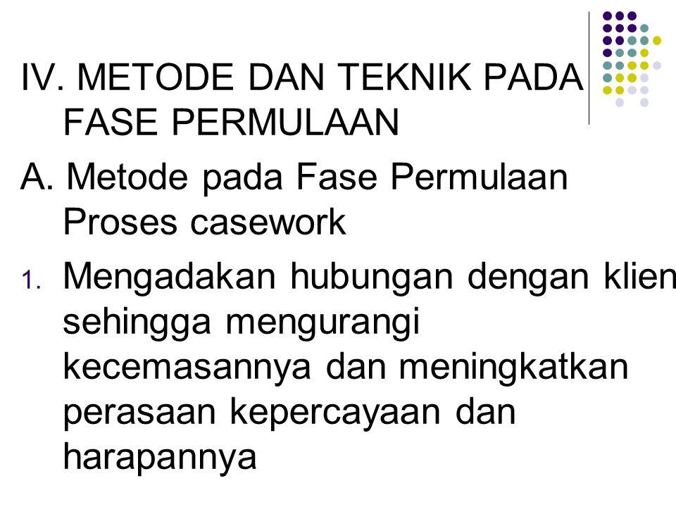 IV. METODE DAN TEKNIK PADA FASE PERMULAAN A. Metode pada Fase Permulaan Proses casework 1. Mengadakan hubungan dengan klien sehingga mengurangi kecema