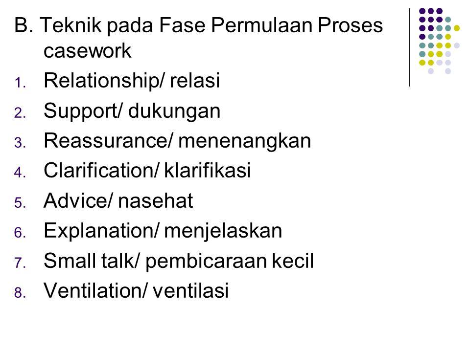 B. Teknik pada Fase Permulaan Proses casework 1. Relationship/ relasi 2. Support/ dukungan 3. Reassurance/ menenangkan 4. Clarification/ klarifikasi 5