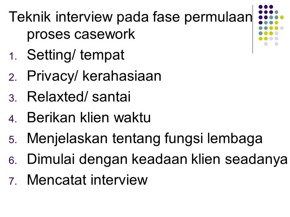 Teknik interview pada fase permulaan proses casework 1. Setting/ tempat 2. Privacy/ kerahasiaan 3. Relaxted/ santai 4. Berikan klien waktu 5. Menjelas