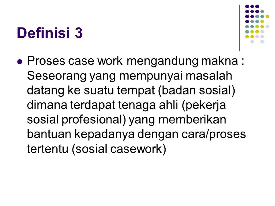 Definisi 3 Proses case work mengandung makna : Seseorang yang mempunyai masalah datang ke suatu tempat (badan sosial) dimana terdapat tenaga ahli (pek