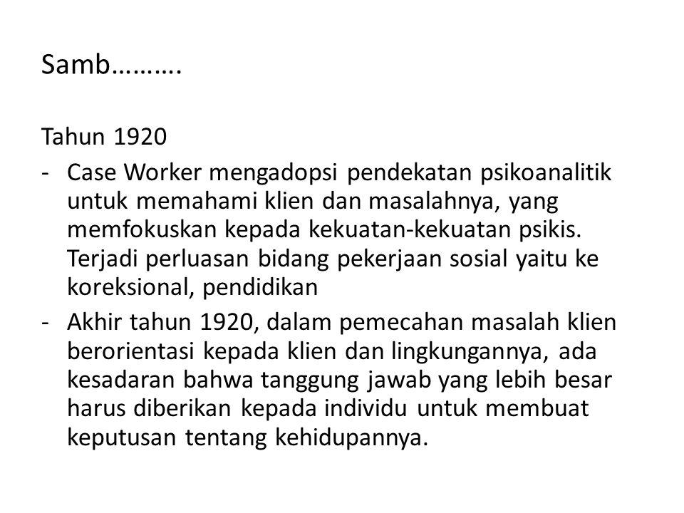 Samb………. Tahun 1920 -Case Worker mengadopsi pendekatan psikoanalitik untuk memahami klien dan masalahnya, yang memfokuskan kepada kekuatan-kekuatan ps