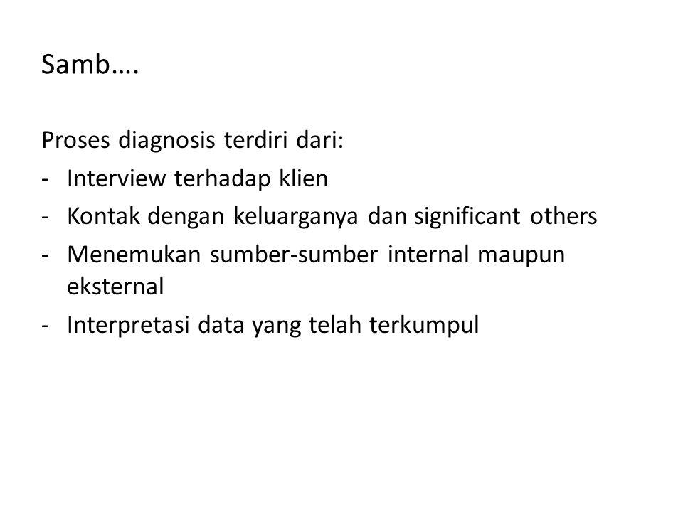 Samb…. Proses diagnosis terdiri dari: -Interview terhadap klien -Kontak dengan keluarganya dan significant others -Menemukan sumber-sumber internal ma