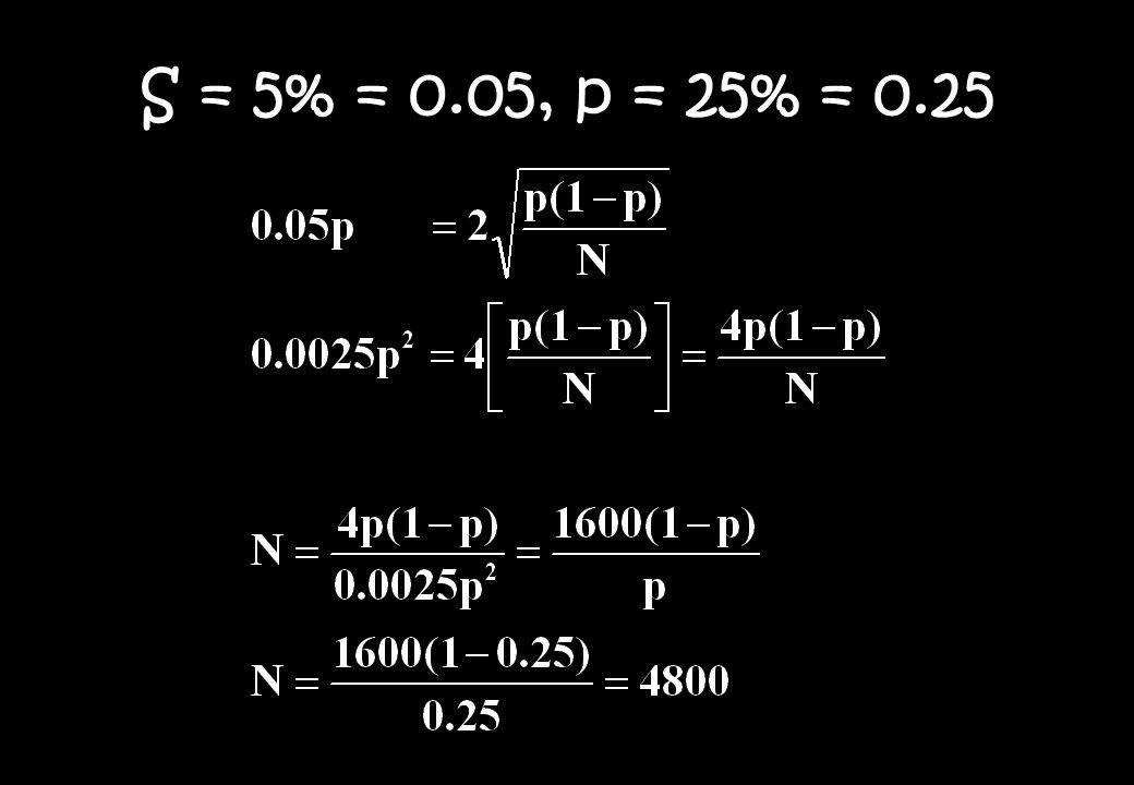 S = 5% = 0.05, p = 25% = 0.25
