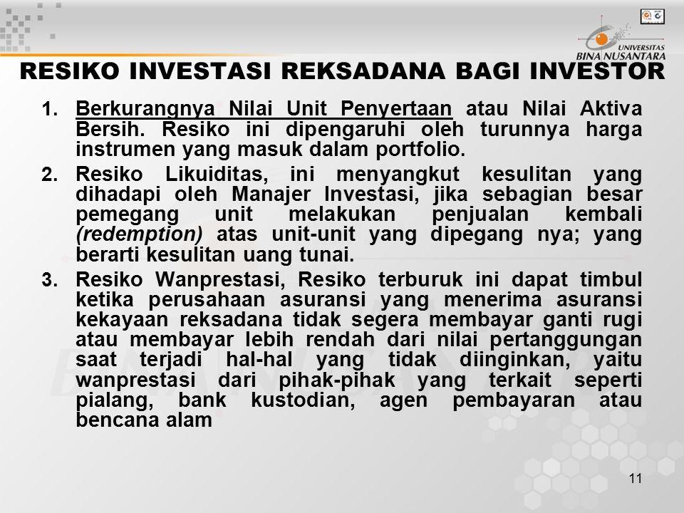 11 RESIKO INVESTASI REKSADANA BAGI INVESTOR 1.
