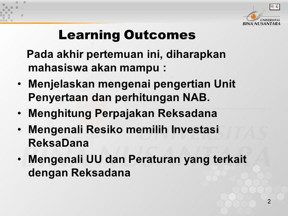 2 Learning Outcomes Pada akhir pertemuan ini, diharapkan mahasiswa akan mampu : Menjelaskan mengenai pengertian Unit Penyertaan dan perhitungan NAB.
