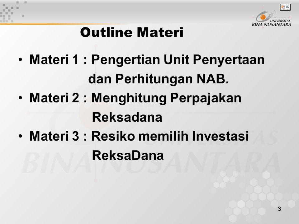 3 Outline Materi Materi 1 : Pengertian Unit Penyertaan dan Perhitungan NAB.