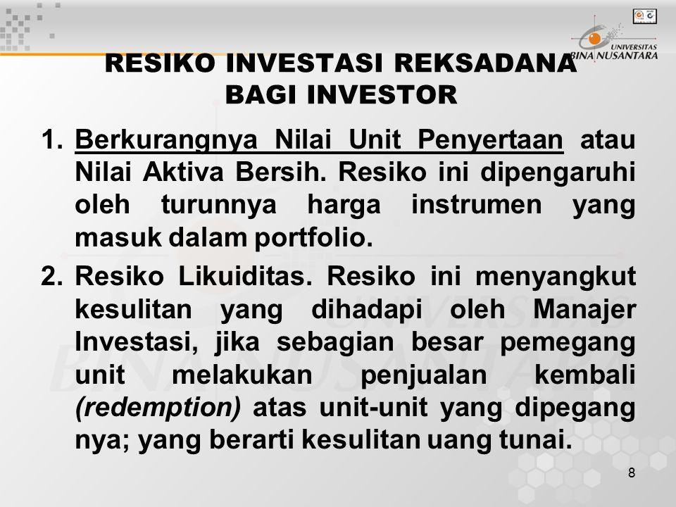 8 RESIKO INVESTASI REKSADANA BAGI INVESTOR 1.Berkurangnya Nilai Unit Penyertaan atau Nilai Aktiva Bersih.