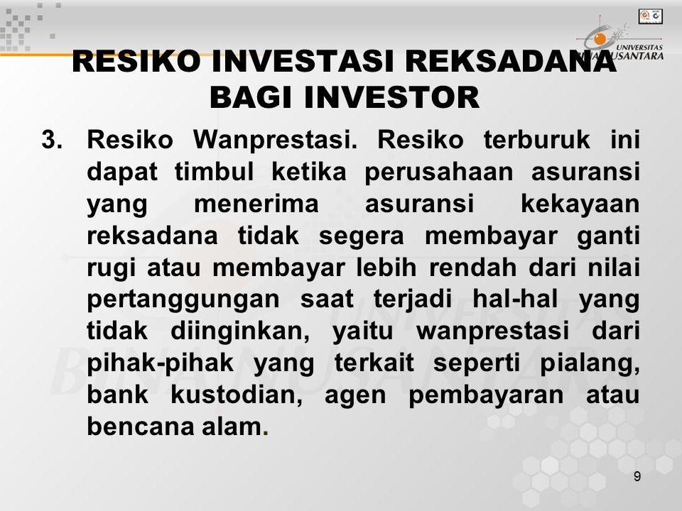10 TRANSAKSI REKSADANA Untuk melakukan pembelian atau penjualan Reksadana, investor dapat menghubungi Wakil Agen Penjual Efek Reksadana (WAPERD), merupakan individu perorangan yang mendapat izin dari Bapepam.