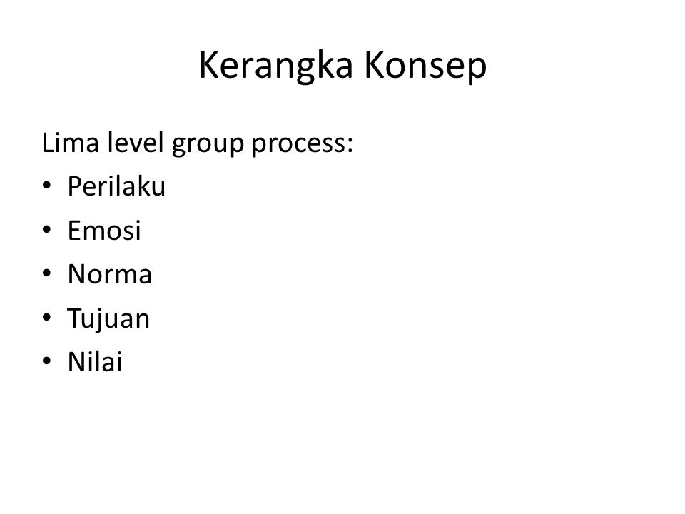Kerangka Konsep Lima level group process: Perilaku Emosi Norma Tujuan Nilai