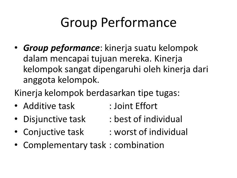 Group Performance Group peformance: kinerja suatu kelompok dalam mencapai tujuan mereka. Kinerja kelompok sangat dipengaruhi oleh kinerja dari anggota