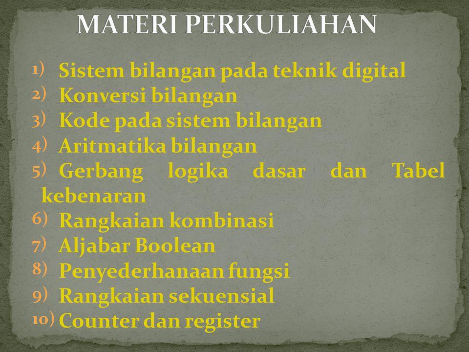 1) Sistem bilangan pada teknik digital 2) Konversi bilangan 3) Kode pada sistem bilangan 4) Aritmatika bilangan 5) Gerbang logika dasar dan Tabel kebenaran 6) Rangkaian kombinasi 7) Aljabar Boolean 8) Penyederhanaan fungsi 9) Rangkaian sekuensial 10) Counter dan register