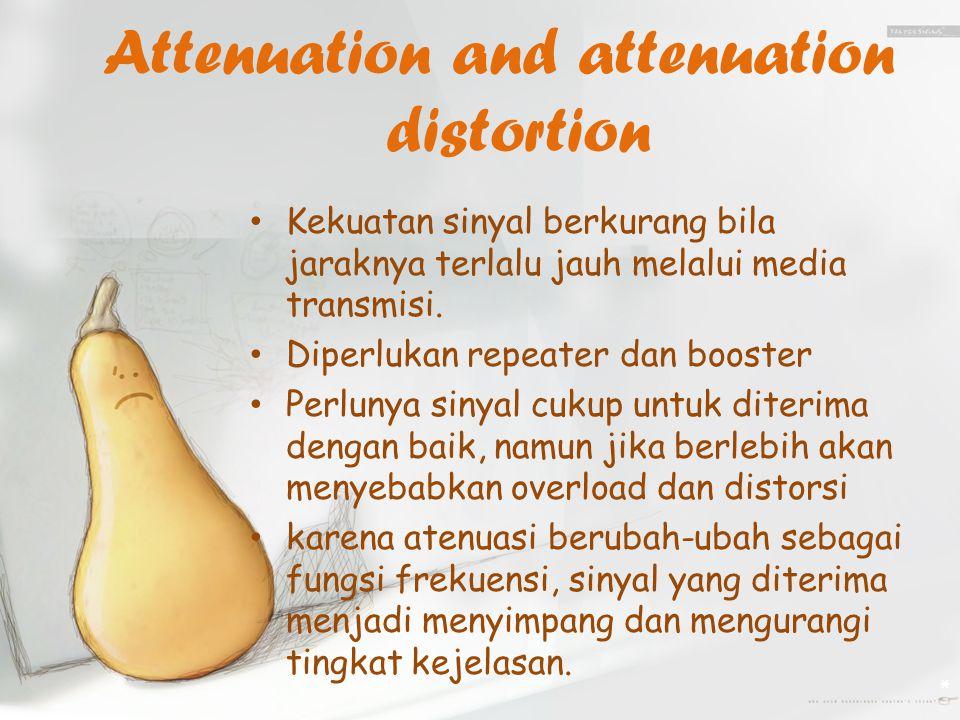 Attenuation and attenuation distortion Kekuatan sinyal berkurang bila jaraknya terlalu jauh melalui media transmisi.