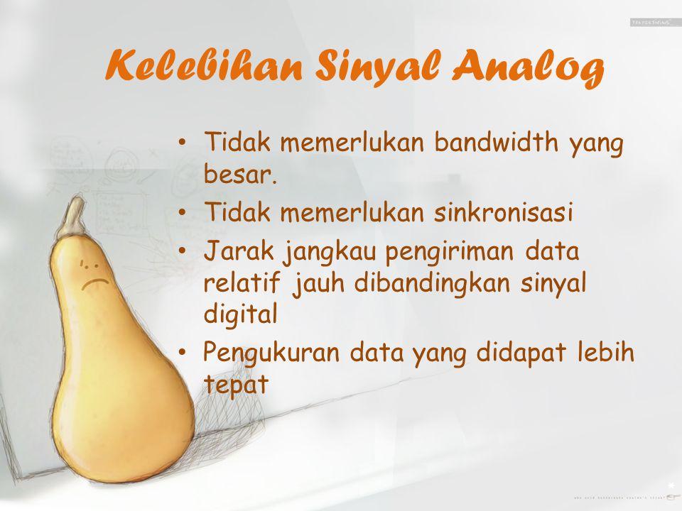 Kelebihan Sinyal Analog Tidak memerlukan bandwidth yang besar.
