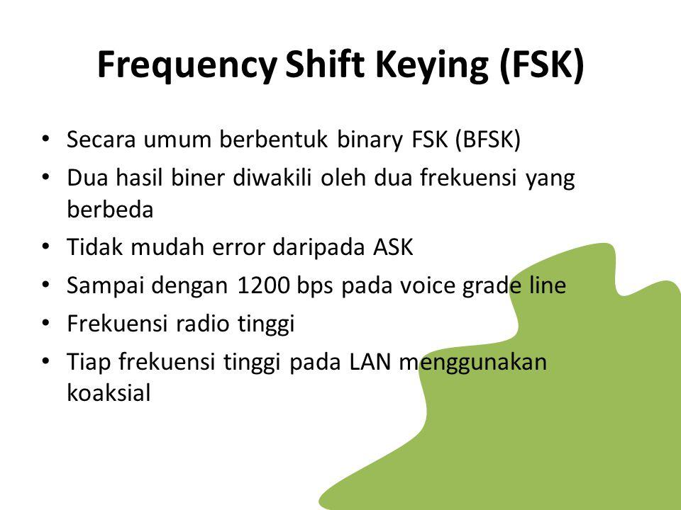 Frequency Shift Keying (FSK) Secara umum berbentuk binary FSK (BFSK) Dua hasil biner diwakili oleh dua frekuensi yang berbeda Tidak mudah error daripa
