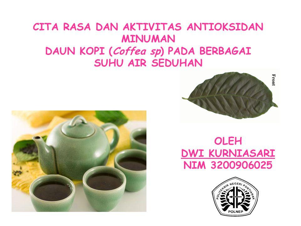 CITA RASA DAN AKTIVITAS ANTIOKSIDAN MINUMAN DAUN KOPI (Coffea sp) PADA BERBAGAI SUHU AIR SEDUHAN OLEH DWI KURNIASARI NIM 3200906025